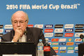 World cup rio de janeiro brazil july joseph s blatter during press conference on the final balance of the at maracana stadium Royalty Free Stock Image