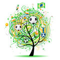 The world cup tree, brasilian flag Stock Photography