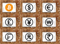 World currencies icons with cryptocurrency bitcoin