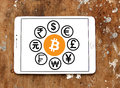 World currencies icons with cryptocurrency bitcoin Royalty Free Stock Photo