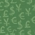 World currency seamless pattern symbols background Royalty Free Stock Images