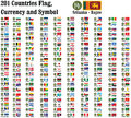 World currency symbols currencies name and flag of counties in illustration Stock Images