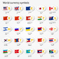 World currency symbols icon set. Money sign icons with national flags. Royalty Free Stock Photo