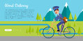 World Delivery Vector Web Banner with Postman Royalty Free Stock Photo