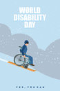 World Disabilities day. Man in wheelchair goes to skiing down  m Royalty Free Stock Photo