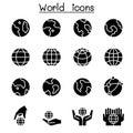 World, Earth icon set Royalty Free Stock Photo