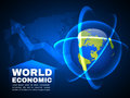 World economic and global map line bubble light  vector background Royalty Free Stock Photo