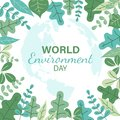 World environment day banner with abstract green leaf frame and map earth background vector design