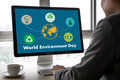 World environment day Earth globe Ecology tree and green leaf  w Royalty Free Stock Photo