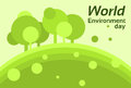 World environment day earth protection silhouette forest nature landscape tree flat vector illustration Stock Images