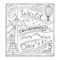 World Environment Day hand drawn illustration.