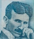 World famous inventor Nikola Tesla portrait close up on Serbian banknote Royalty Free Stock Photo