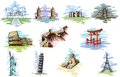 World famous monument vector illustration of collection of Royalty Free Stock Images