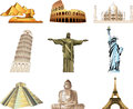 World famous monuments icons detailed set Stock Images