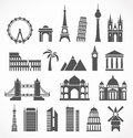 World famous signts abstract silhouettes Royalty Free Stock Images