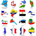 World flag map sketches collection 04 Stock Image
