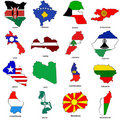 World flag map sketches collection 07 Stock Photo