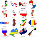 World flag map sketches collection 10 Royalty Free Stock Image