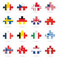 World flags as jigsaw puzzle pieces Royalty Free Stock Photography