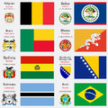 World flags of belgium belize benin bhutan bolivia bosnia and herzegovina botswana and brasil with capitals geographic coordinates Stock Image