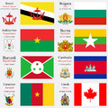 World flags of brunei bulgaria burkina faso burma or myanmar burundi cambodia cameroon and canada with capitals geographic Stock Photos