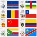 World flags of cape verde central african republic chad chile china colombia comoros and democratic republic of the congo with Royalty Free Stock Image