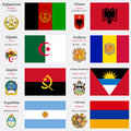 World flags and capitals set of afghanistan albania algeria andorra angola antigua barbuda argentina armenia with geographic Royalty Free Stock Photography