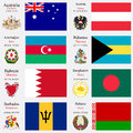 World flags and capitals set of australia austria azerbaijan bahamas bahrain bangladesh barbados belarus with geographic Stock Images