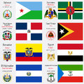 World flags and capitals set of djibouti dominica dominican republic east timor ecuador egypt el salvador equatorial guinea with Royalty Free Stock Images