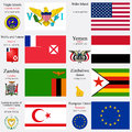 World flags and capitals set of european union turkish republic of northern cyprus virgin islands wake island wallis futuna yemen Royalty Free Stock Photo