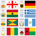 World flags and capitals set of georgia germany ghana greece grenada guatemala guinea guinea bissau with geographic coordinates Stock Images