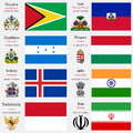 World flags and capitals set of guyana haiti honduras hungary iceland india indonesia iran with geographic coordinates coat of Royalty Free Stock Photo