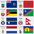 World flags and capitals set of montserrat morocco mozambique namibia nauru nepal netherlands new caledonia with geographic Royalty Free Stock Photo