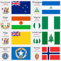 World flags and capitals set of new zealand nicaragua niger nigeria niue norfolk island northern mariana islands norway with Royalty Free Stock Images