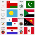 World flags and capitals set of oman pakistan palau palestine panama papua new guinea paraguay peru with geographic coordinates Stock Images