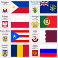 World flags and capitals set of philippines pitcairn islands poland portugal puerto rico qatar romania russian federation with Royalty Free Stock Image