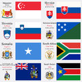 World flags and capitals set of singapore slovakia slovenia solomon islands somalia south africa south georgia the south sandwich Royalty Free Stock Photos