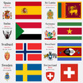 World flags and capitals set of spain sri lanka sudan suriname svalbard swaziland sweden swiss confederation with geographic Royalty Free Stock Photography