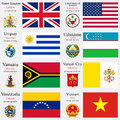 World flags and capitals set of united kingdom united states of america uruguay uzbekistan vanuatu vatican city venezuela vietnam Stock Photos