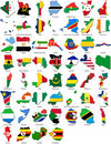 World flags - country border - African set