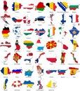 World flags - country border - European set
