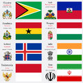 World flags of guyana haiti honduras hungary iceland india indonesia and iran with capitals geographic coordinates and coat of Stock Photos