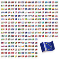 World Flags Icon Set Collection in Wave Flat Design - All States Royalty Free Stock Photo