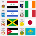 World flags of iraq ireland israel italy jamaica japan jordan and kazakhstan with capitals geographic coordinates and coat of arms Royalty Free Stock Photo
