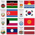 World flags of kenya kiribati north korea south korea kuwait kyrgyzstan laos and latvia with capitals geographic coordinates and Royalty Free Stock Images