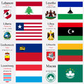 World flags of lebanon lesotho liberia libya liechtenstein lithuania luxembourg an macau with capitals geographic coordinates and Stock Photo