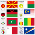 World flags of macedonia madagascar malwi malaysia maldives mali malta and marshall islands with capitals geographic coordinates Royalty Free Stock Photo