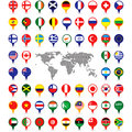 World flags on map pins set of various Stock Photography