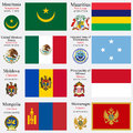 World flags of mauritania mauritius mexic micronesia moldova monaco mongolia and montenegro with capitals geographic coordinates Royalty Free Stock Images