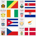 World flags of republic of the congo costa rica cote d ivoire croatia cuba cyprus czech republic and denmark with capitals Royalty Free Stock Photo
